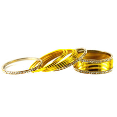 Buy Yellow Color Stone Stud Brass Bangle