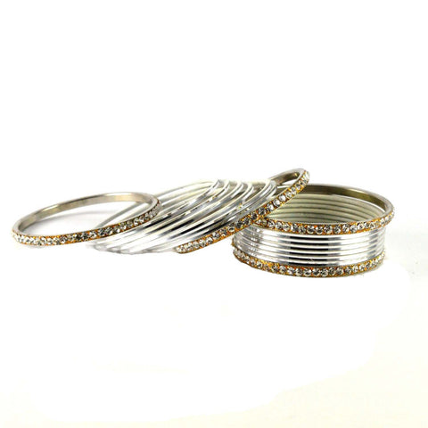 White Color Stone Stud Brass Bangle - ban1395