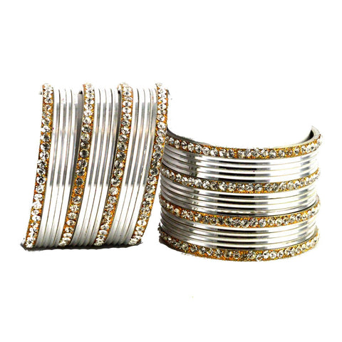 White Color Stone Stud Brass Bangle - ban1403