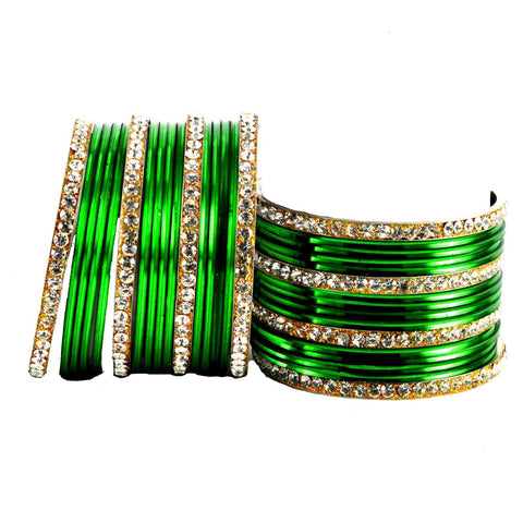 Green Color Stone Stud Brass Bangle - ban1404