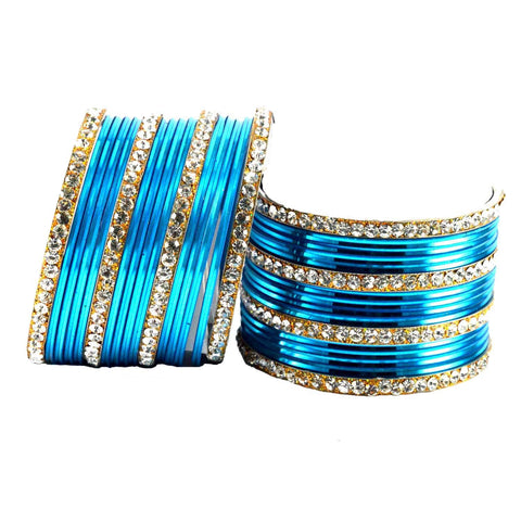 Firozi Color Stone Stud Brass Bangle - ban1405