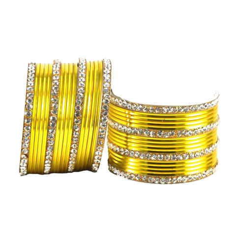 Yellow Color Stone Stud Brass Bangle - ban1406