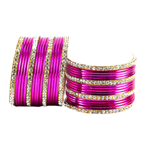 Rani Color Stone Stud Brass Bangle - ban1407
