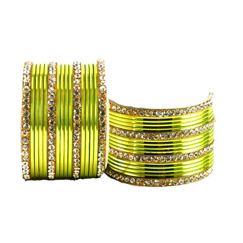 Totai Color Stone Stud Brass Bangle - ban1408