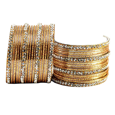 Golden Color Stone Stud Brass Bangle - ban1409