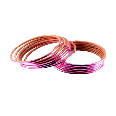 Pink Color Plain Brass Bangle - ban1416