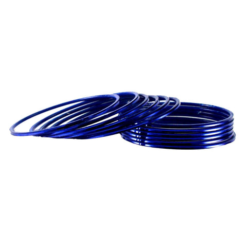 Dark Blue Color Plain Brass Bangle - ban1417