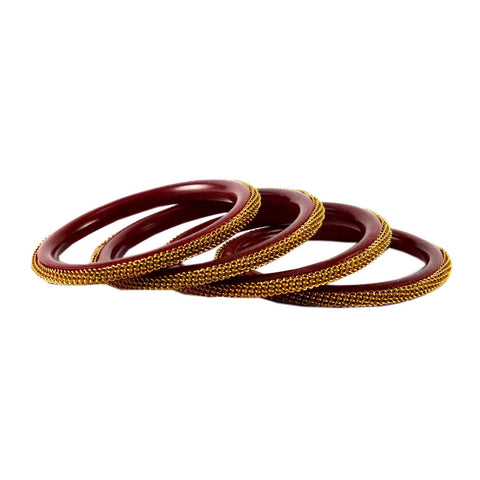 Red Color Plain Acrylic-Brass Bangle - ban1431