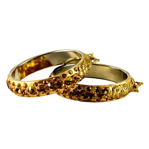 Golden Color Stone Stud Brass Bangle - ban1432