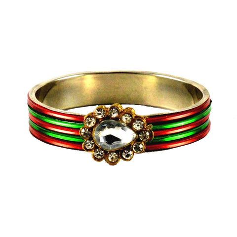 Multi Color Stone Stud Brass Bangle - ban1435
