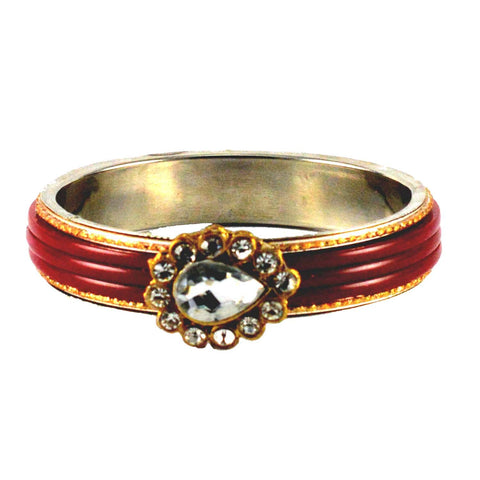 Red Color Stone Stud Brass Bangle - ban1436