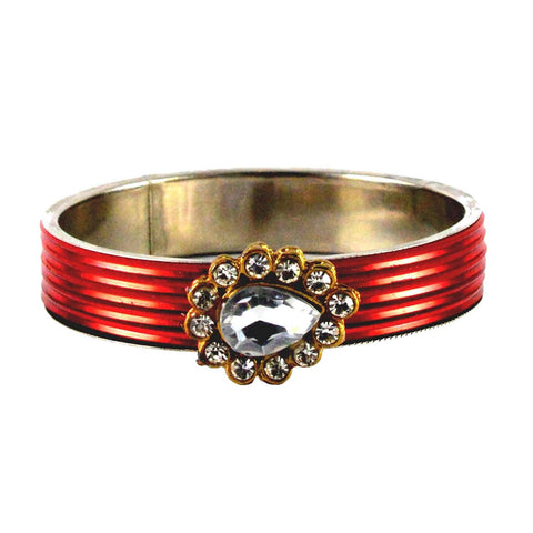 Red Color Stone Stud Brass Bangle - ban1437