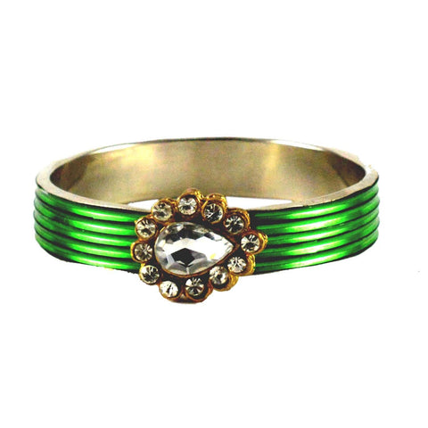Green Color Stone Stud Brass Bangle - ban1438