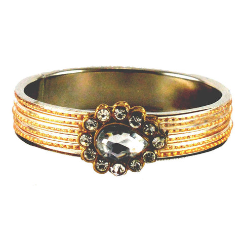 Golden Color Stone Stud Brass Bangle - ban1439