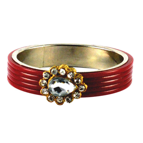 Red Color Stone Stud Acrylic-Brass Bangle - ban1440