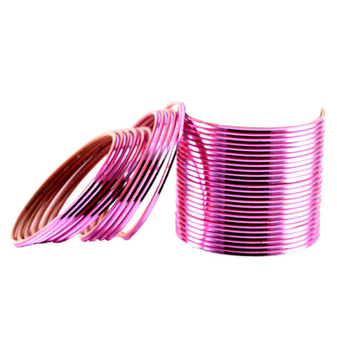 Pink Color Plain Brass Bangle - ban1448
