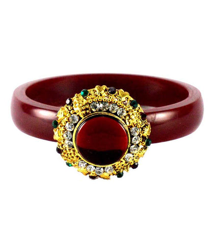 Maroon Color Stone Stud Acrylic-Brass Bangle - ban1459
