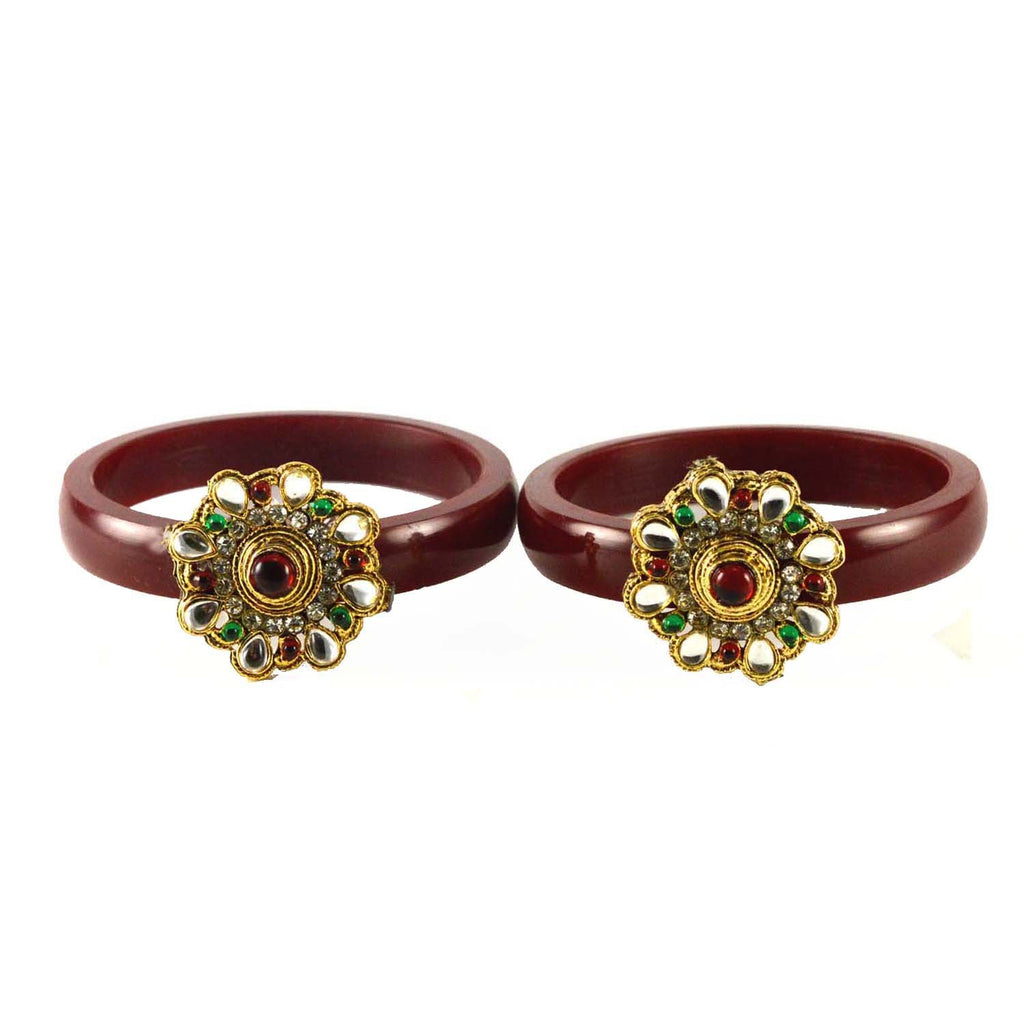 Buy Maroon Color Stone Stud Acrylic-Brass Bangle