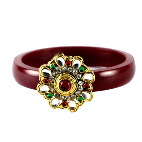 Maroon Color Stone Stud Acrylic-Brass Bangle - ban1463