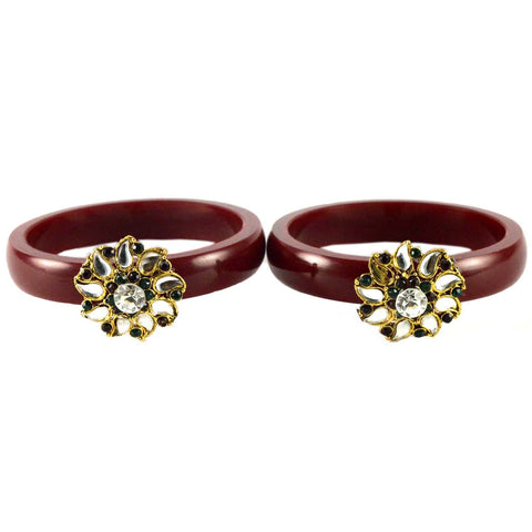 Maroon Color Stone Stud Acrylic-Brass Bangle - ban1464