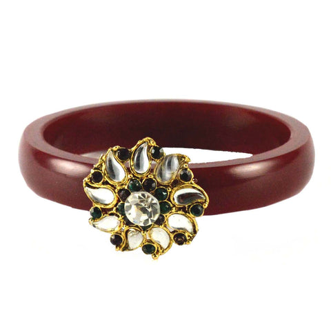 Maroon Color Stone Stud Acrylic-Brass Bangle - ban1465