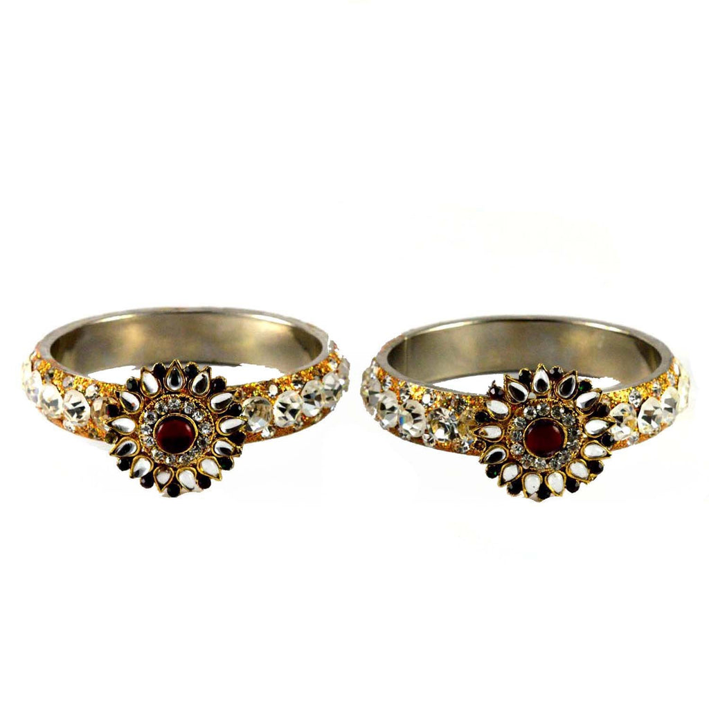 Buy White Color Stone Stud Brass Bangle