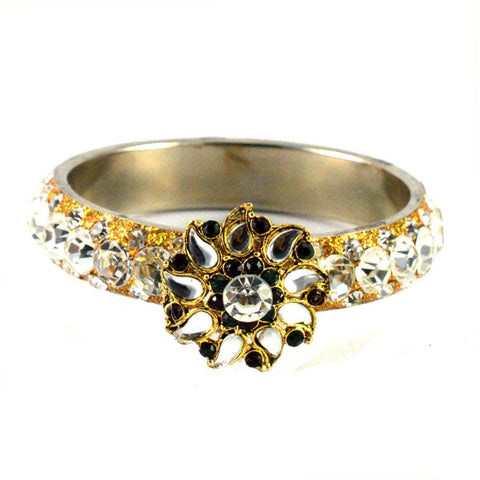 White Color Stone Stud Brass Bangle - ban1470