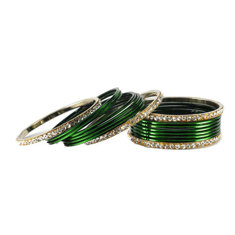 Dark Green Color Stone Stud Brass Bangle - ban1476