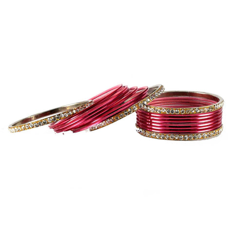 Gajari Color Stone Stud Brass Bangle - ban1478