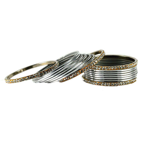 Silver Color Stone Stud Brass Bangle - ban1479