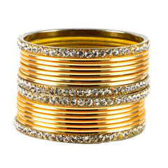 Golden Color Stone Stud Brass Bangle - ban1482