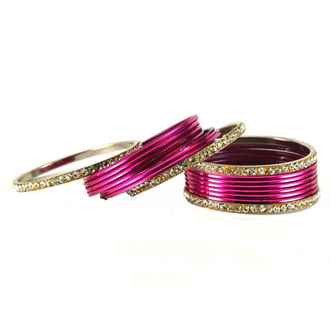 Dark Rani Color Stone Stud Brass Bangle - ban1483