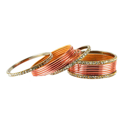 Pich Color Stone Stud Brass Bangle - ban1484