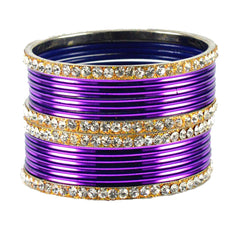Jamani Color Stone Stud Brass Bangle - ban1485