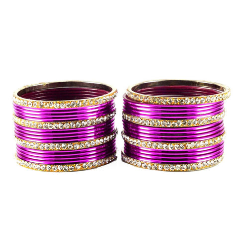 Dark Rani Color Stone Stud Brass Bangle - ban1487