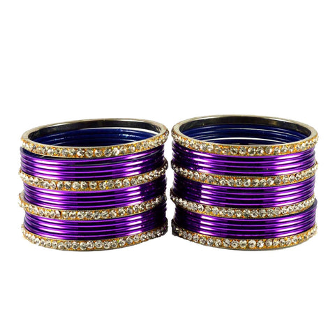 Jamani Color Stone Stud Brass Bangle - ban1488