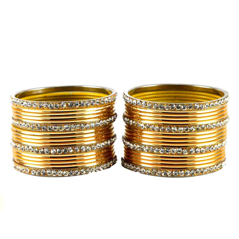 Golden Color Stone Stud Brass Bangle - ban1491