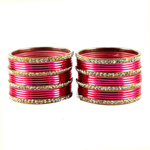 Gajari Color Stone Stud Brass Bangle - ban1492