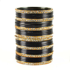 Black Color Stone Stud Brass Bangle - ban1497