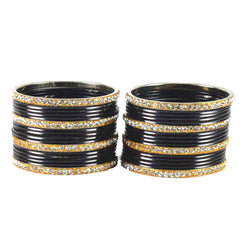 Buy Black Color Stone Stud Brass Bangle