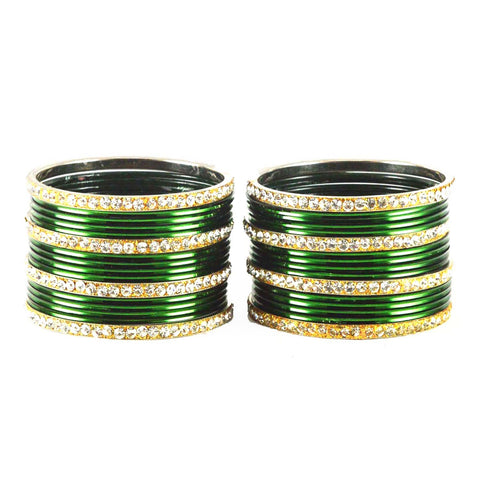 Green Color Stone Stud Brass Bangle - ban1498