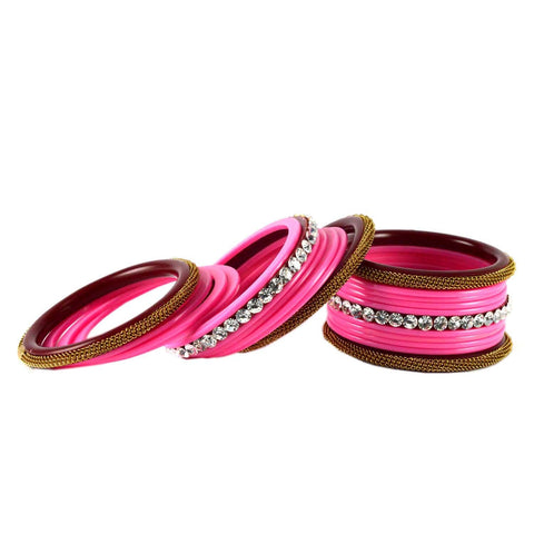 Pink Color Acrylic Bangle  - ban1568
