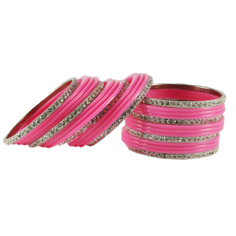 Pink Color Acrylic Brass Bangle  - ban1632