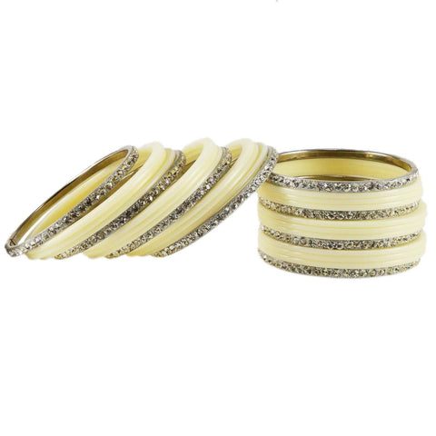 White Color Acrylic Brass Bangle  - ban1636