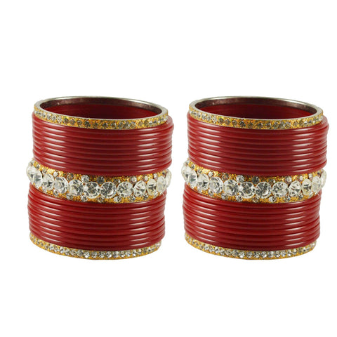 Red Color Acrylic Brass Bangle  - ban1646