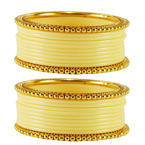 Cream Color Acrylic Brass Bangle  - ban1649