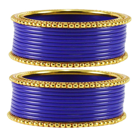 Blue Color Acrylic Brass Bangle  - ban1650
