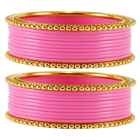 Pink Color Acrylic Brass Bangle  - ban1652