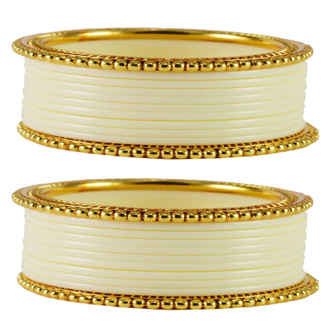 White Color Acrylic Brass Bangle  - ban1656