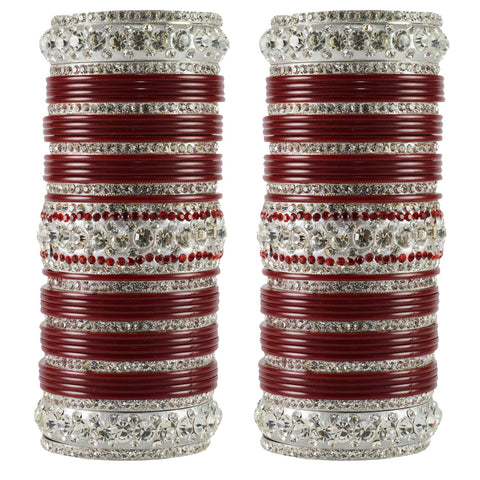 Maroon Color  Acrylic-Brass  Stone Stud  Bangle - ban1714